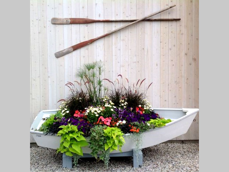 Beautiful and exotic boat garden that can be adapted to a flower garden theme, tropical theme or even a wild theme.